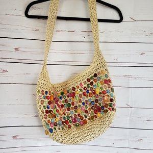 Cappelli rhinestone beaded straw world purse